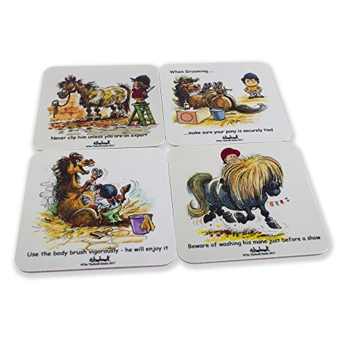 Melamine Coasters (Thelwell pony coaster set of 4 melamine drinks coasters. Featuring iconic cartoon images of ponies. Horse riding gift.)