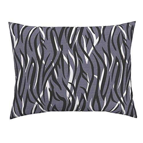 (Roostery Animal Print Euro Knife Edge Pillow Sham Abstract Cat Stripes Wild Life Safari Blue Modern Decor by Glimmericks 100% Cotton Sateen)