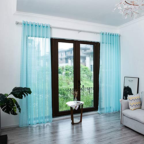 Juesi Solid Color Sheer Window Curtains Elegant Window Voile Panels/Drapes/Treatment for Bedroom Living Room, 98''x59''