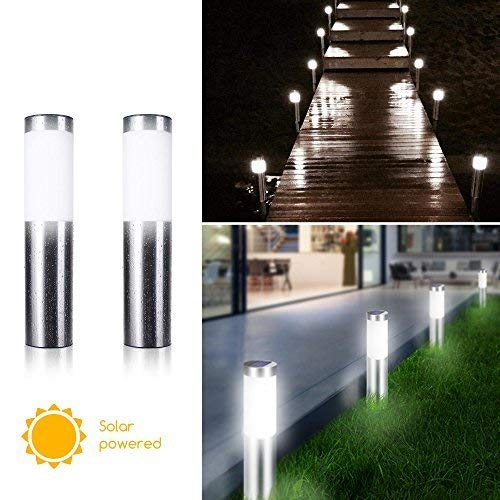 Brightown 2 Pack Solar Lights Outdoor Solar Bollard Lights, Outdoor Pathway Lights Stainless Steel Waterproof Landscape Lighting for Garden Driveway Path Walkway Lawn Yard Pool, Pure White