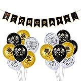 KUUQA 2020 Graduation Party Balloons Banner Set 2020 Congrats Banner with 15 Pcs Grad Party Balloons Graduation Party Decoration Supplies