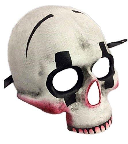 [Halloween Killer Clown Skull Half Mask Adult Skeleton Jester White Red Black] (White & Red Clown Half Mask)