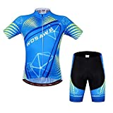 WOSAWE Mens Breathable Cycling Jersey Short Sleeves (Sky Suit, S)
