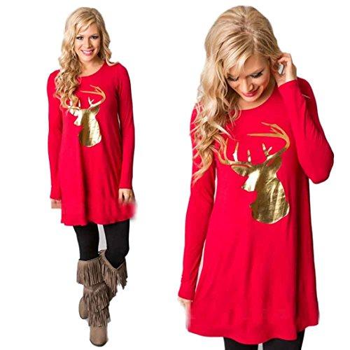 Women Mini Dress, Franterd Christmas Elk Santa Print Long Sleeve Swing Dresses (Long Sleeve Plus Size Costume)