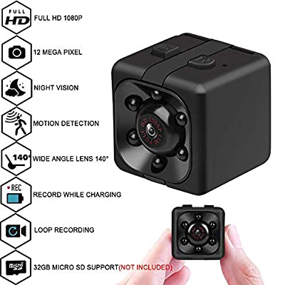 Mini Cop spy Camera Wireless Hidden with Night Vision and Motion Detection?1080P Portable Small HD Nanny Cam with Audio and Video,Perfect Indoor/Outdoor Covert Security (s3) (she3)