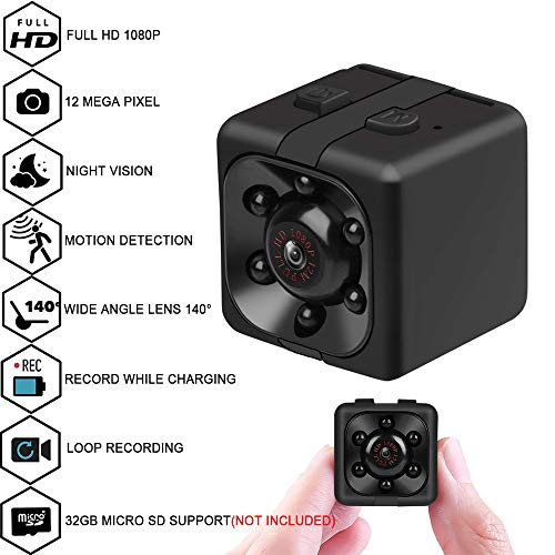 Mini Cop spy Camera Wireless Hidden with Night Vision and Motion Detection,1080P Portable Small HD Nanny Cam with Audio and Video,Perfect Indoor/Outdoor Covert Security (s3) (she3)