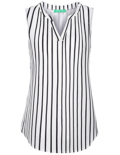 Stripe Henley Tank - Kimmery Sleeveless Tunics for Women, Ladies Career Tank Tops Mandarin Collar Henley Shirts Sturdy Flowing Charming Lightweight Breathable Durable Formal Wear Layered Top Black Stripes X Large