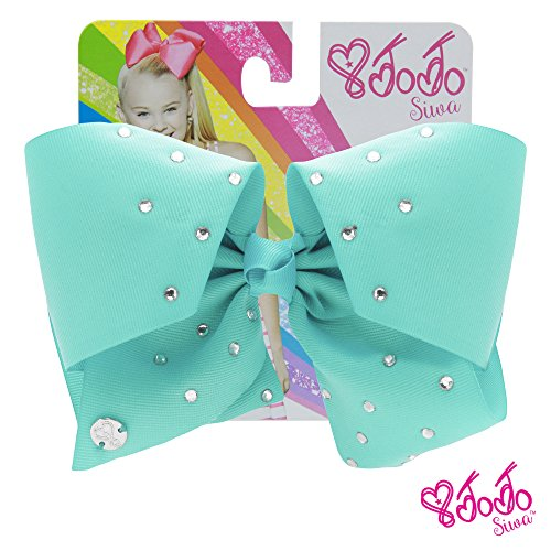 JoJo Siwa Signature Collection Hair Bow with Rhinestones -Blue With Sticker Patch Set Included (Cheer Bow Ideas)