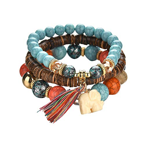 3 Sets Wild fringed temperament bracelet Beaded Bracelets for Women Multilayer Stretch Stackable Bracelet Set Multicolor Jewelry(Wooden beads)