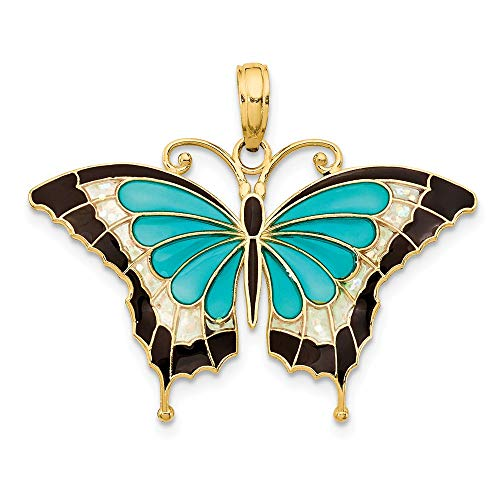 Yellow Enameled Butterfly Charm - 14k Yellow Gold Aqua Enameled Butterfly Pendant Charm Necklace Animal Fine Jewelry Gifts For Women For Her