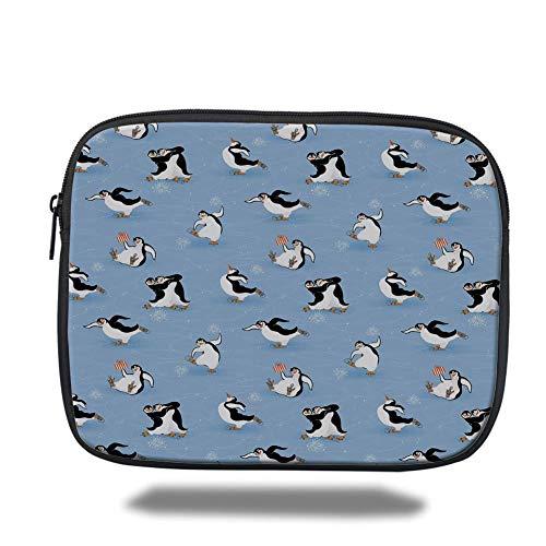 (Tablet Bag for Ipad air 2/3/4/mini 9.7 inch,Cartoon Animal,Skating Funny Penguins Fun Activity Cheerful Smiling Mascots Cute Couple Decorative,Multicolor)