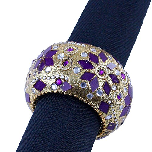 Purple and Gold Mosaic Beaded Napkin Rings, Set of 6 in Organza Gift Bag