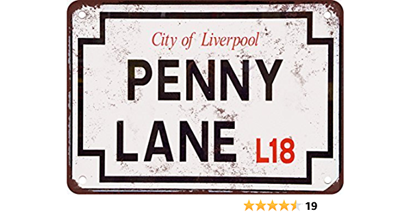 """Beatles City Of Liverpook Penny Lane L18 Reproduction Street Sign 18"""" x 10"""""""