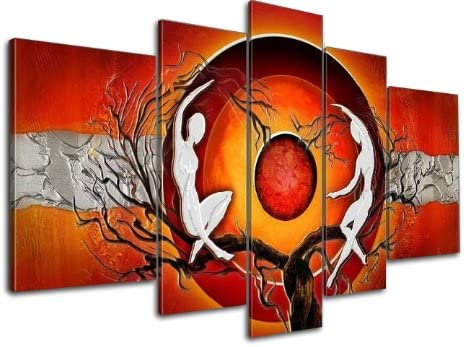Wieco Art 5 Panels Abstract Oil Paintings on Canvas Wall Art Ready to Hang for Home Decorations Wall Decor Red Sun Tree Dancers Large Modern Gallery Wrapped 100 Hand Painted Contemporary Artwork L