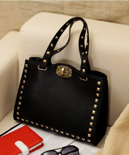 New-Fashion-Korean-Style-Black-PU-Leather-Vintage-Rivet-Satchel-Handbag-Purse-Hobo-Tote-Bag