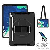 SUPFIVES iPad Pro 12.9 Case 2018 (iPad 12.9 3rd Generation) Heavy Duty Case with Stand+Hand Strap+Shoulder Strap+Pencil Holder Shockproof Durable Business Case for iPad pro 12.9-inch 3rd Gen (Black)