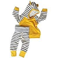 Baby Girls Boys Long Sleeve Hooded Tops + Leggings Trousers Outfits Set Cloth...