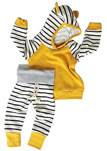 Online Boutiques For Babies (Baby Girls Boys Long Sleeve Hooded Tops + Leggings Trousers Outfits Set Clothes)