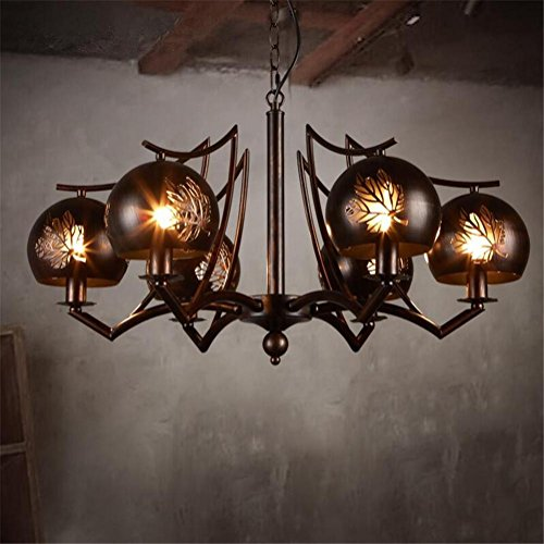 DHXY Retro Chandelier LOFT Industrial Vintage Wrought Iron Pendant Ceiling 6 Lights With Hollow Leaves Lampshade For Living Room, Bar, Cafe, - Vi Iron Single Vintage