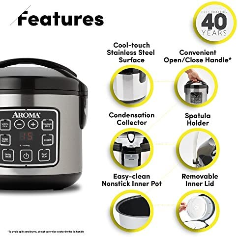 Aroma Housewares 2-8-Cups (Cooked) Digital Cool-Touch Rice Grain Cooker and Food Steamer, Stainless, 8 Cup, Silver 51k8rllmMuL