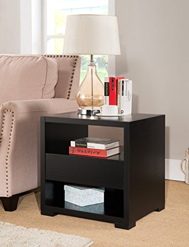 Faux Crocodile Black End Side Table with Storage Compartments - Brown Faux Crocodile Table Lamp