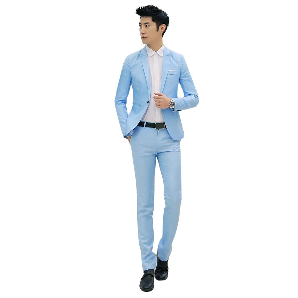 Buy Shriy88 Men S Cotton Blend 2 Piece Suit Sky Blue Large At Amazon In