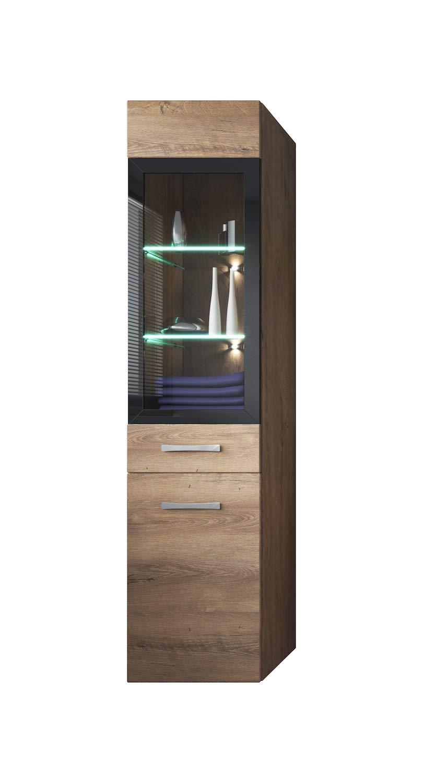 Badplaats Storage cabinet Rio 131cm height Lefkas (brown) - Storage cabinet tall cupboard bathroom furniture