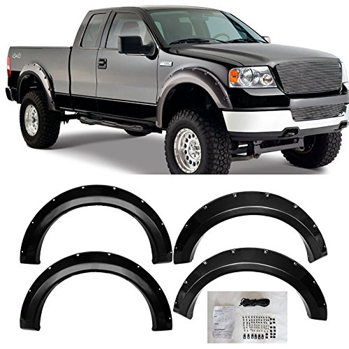 VioGi 4pcs Fit 04-08 Ford F150 Styleside Bed Smooth Black Paintable Pocket Riveted Clip-In Style Fender Flares Pair