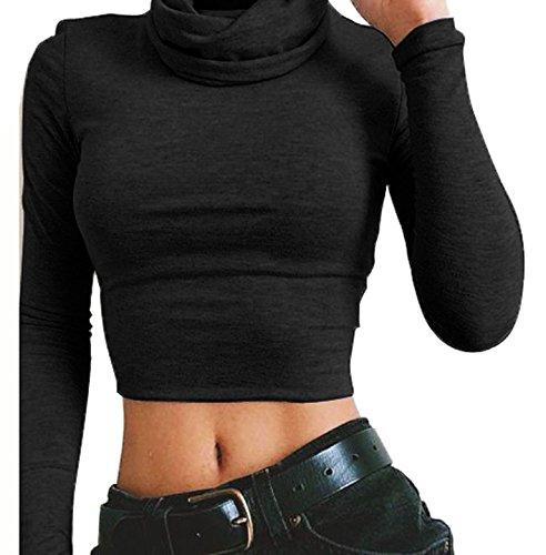 t Femmes Unie Noir T Manches Couleur Col Court Longues Chemisiers Tops Haut Shirts Crop Haut Serr rrdwCqS