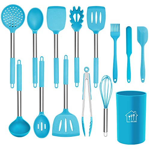 Silicone Cooking Utensil Set, AILUKI Kitchen Utensils 14 Pcs Cooking Utensils Set,Non-stick Heat Resistant Silicone,Cookware with Stainless Steel Handle - Blue (Blue Silicone Kitchen Utensils)