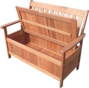 wooden 2 seater garden bench with under seat storage box outdoor patio seating. Black Bedroom Furniture Sets. Home Design Ideas