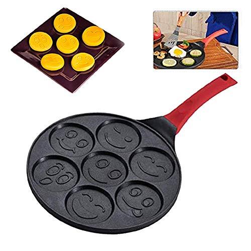 Nonstick Pancake Pan,Pancake Griddle,Griddle Pan,Blini Pan,Cake Pan,Emoji Smiley Face Pan,10 inch Pan Cake Griddle with Non-Slip Handle Faces/Animal Mode Non-Stick - Blini Pan