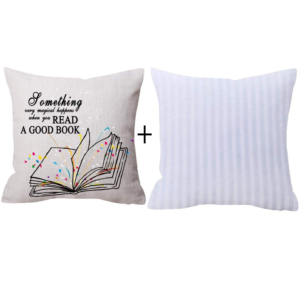 NIDITW Nice Gift With Read A Good Book Wall Quote Words Beige Throw pillow case Cushion cover pillowcase With Insert Sofa home decorative Square 18''X 18''