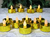 Gold Candles - Set of 12 Metallic Gold LED Tea Light Candles - Flameless Candles - Flickering Candles - Gold Wedding Decorations - 50th Wedding Anniversary Decorations - Over the Hill Decorations