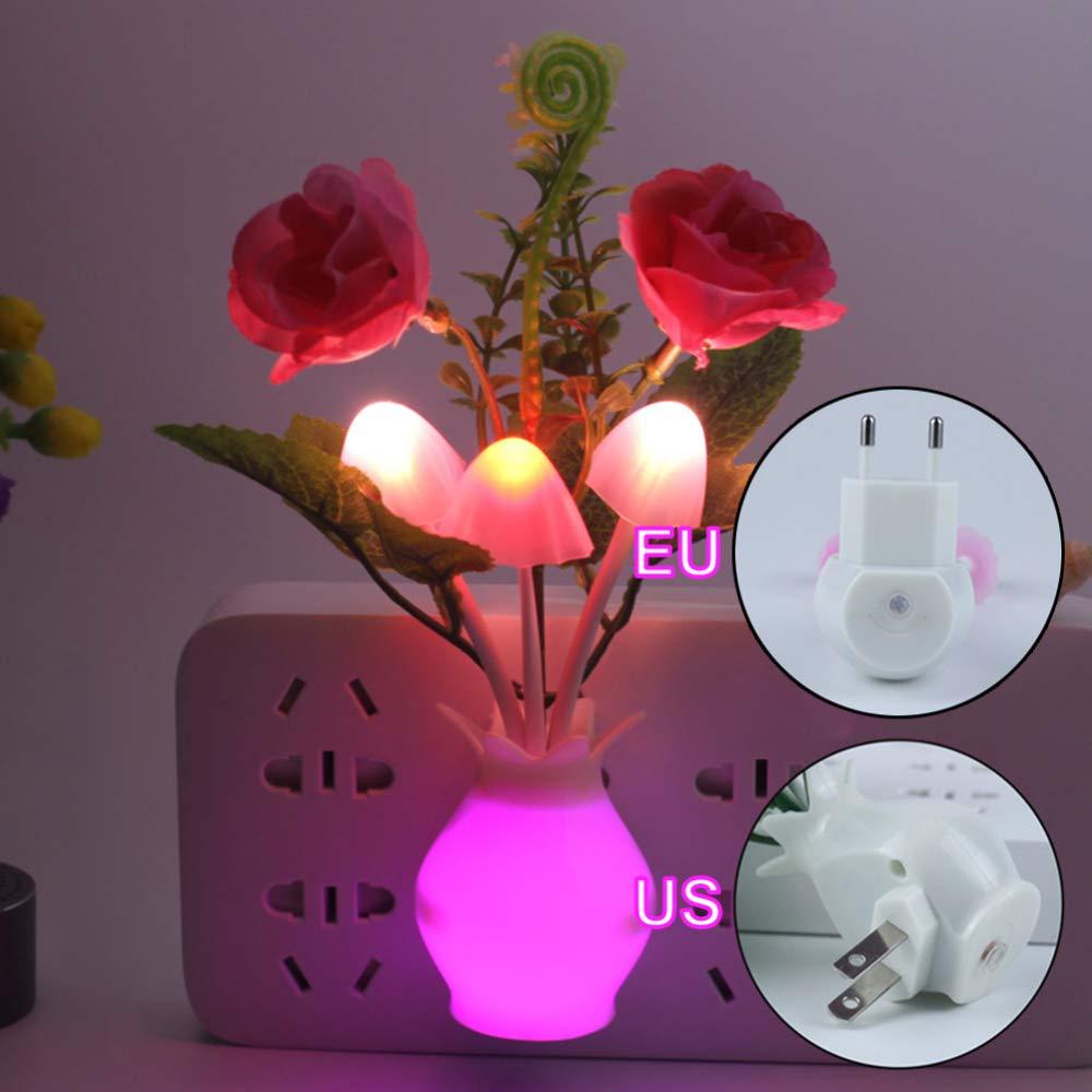 GHJGFGH EU US Plug LED Nouveaut/é Lumi/ère Champignon Tulip Fleur Capteur De Lumi/ère Nuit Lampe D/écoration /à La Maison Romantique B/éb/é Chambre Hall,EU