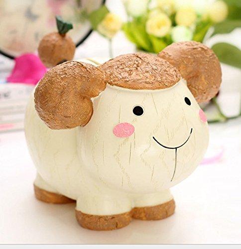 SKNSM Piggy Bank Creative Children's Gifts Resin Zodiac Piggy Bank Super Lovely Animal Piggy Bank (Sheep) for gift from