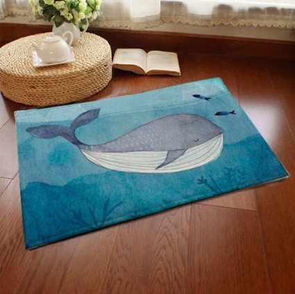 Sell4Style Bath mat Welcome Mats Home Décor Rugs for Indoor Outdoor Office with Non-slip Back, 23.6 x 15.7 (Blue Whale)