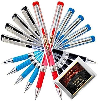 Set of 3 Smooth Write Pens 1.0 Medium Tip Ballpoint Pen Blue,Black,Red Writing,!