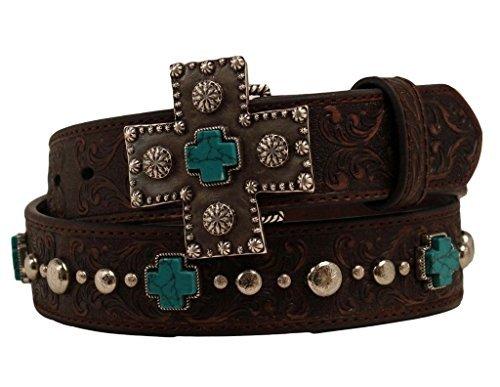 Ariat Women's Turquoise Cross Studded Belt Brown XL (42