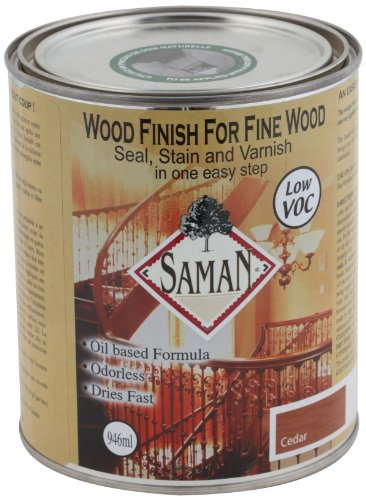 SamaN SAM-303-1L 1-Quart Interior Stain for Fine Wood for Seal, Stain and Varnish, Cedar