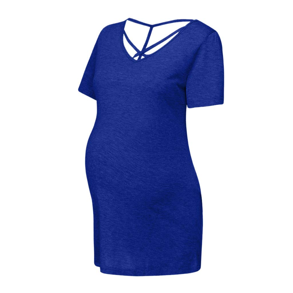 Maternity Clothes for Women Short Sleeve Criss Cross V Neck Tunic Tops Backless Pregnancy Top Blouse Shirt