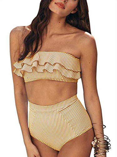 (Sophieer Ladies Casual Unique 2 Pieces Swimsuit Slimming Classic Ruffle Off The Shoulder Beachwear Full Lining Bikini Yellow S)