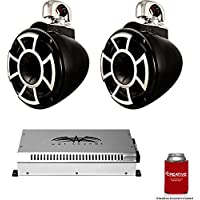 Wet Sounds 8 Black Tower System: A Pair of REV8B-SC 8 Tower speakers & SYN2 700 Watt Amplifier