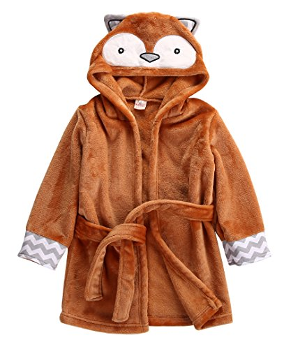 Coral Tower (Baby Cartoon Animal Style Bath Robes Toddler Unisex Kids Hooded Tower Pajamas (6-12 Months, Orange Fox))