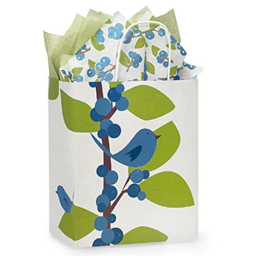 Blue Bird Berries Paper Shopping Bags - Cub Size - 8 x 4 3/4 x 10 1/4in. - 150 Pack by NW