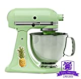 Retro Kitchen Appliance Packages Vintage Retro Tropical Pineapple Kitchen Stand Mixer Appliance Decal Front/Back Vinyl Decal Set - Full Color