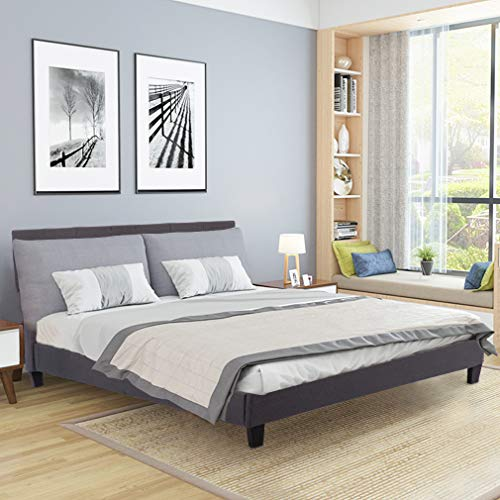 Upholstered Platform Bed Queen Panel Bed Frame Gray Linen Heavy Duty Metal Base Mattress Foundation No Box Spring Needed Wood Slats Support