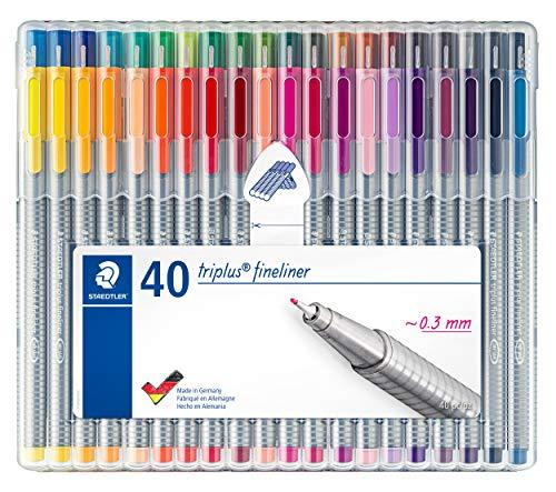 Staedtler triplus fineliner, Super Fine Triangular Pens 0.3mm, Includes Easel Case for Home & Travel, 40 Assorted Colors, 334 SB40