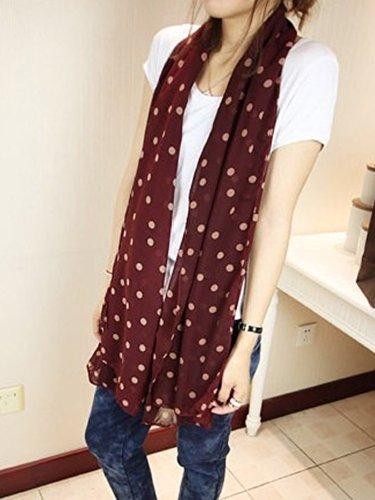 TOOGOO(R) Fashion Women Ladies Beautiful Polka Dot Spotted Spot Scarf Wrap Shawl Wine Red