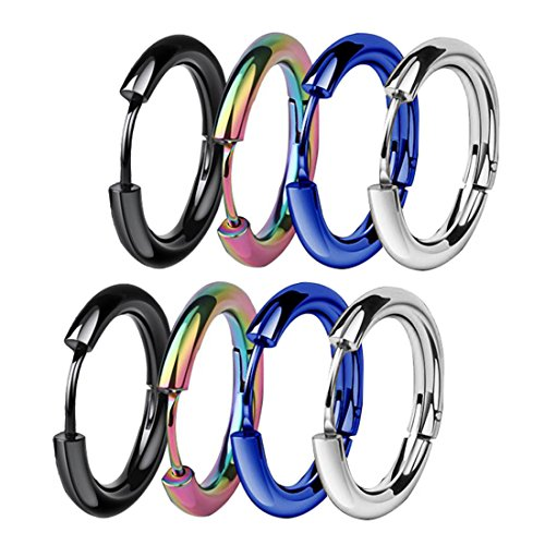 ZHIYAOR Hypoallergenic Titanium Steel Loop Earrings Set for Men Women Huggie Hoop Cartilage Piercing 18G (A:Mixed 4Pairs, 14)